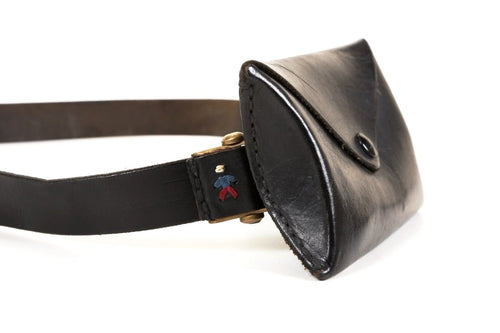 Henry Begulin Black Leather Belt with Waist Bag, EUC