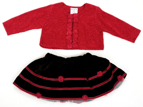 Children's Place Red Black Skirt & Sweater Set SZ 6-9 Mos (Infant)
