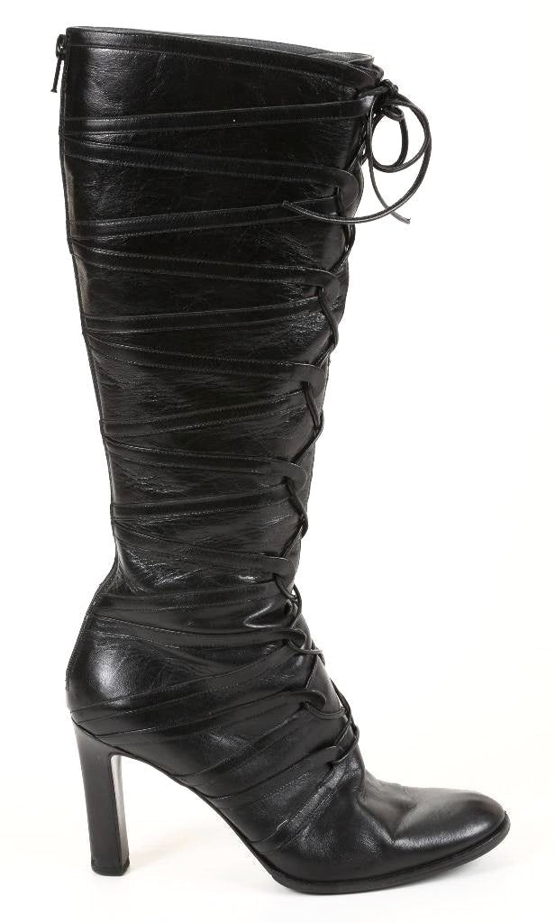 Jil Sander Women's Black Leather Tie Front Boots SZ 37