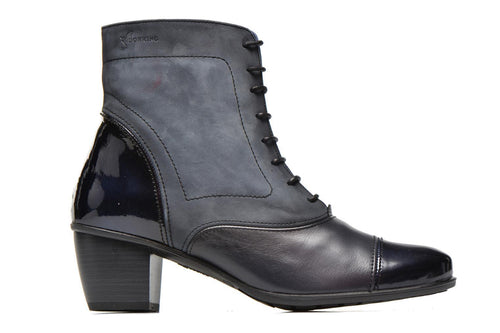 Dorking Brisda 6072 Women's Navy Leather Lace Up Booties