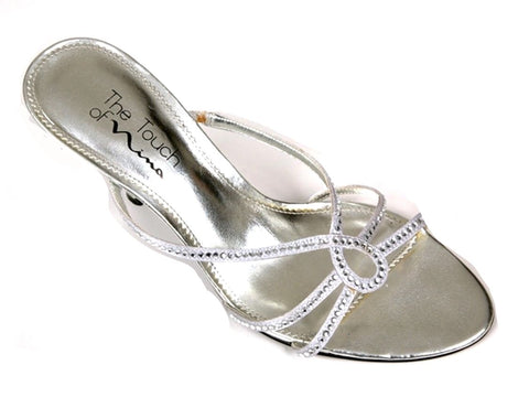 Nina Womens Silver w/ Crystals Slide On Sandals Size 7.5