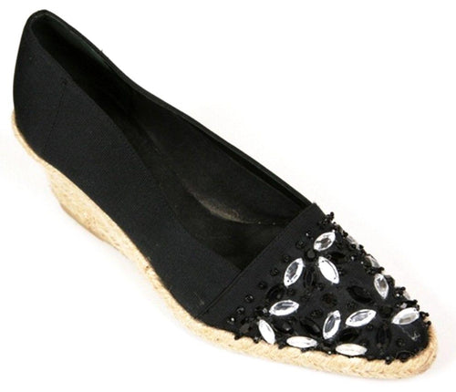 Hollywould Women's Black Canvas w/ Beads Wedge SZ 6.5