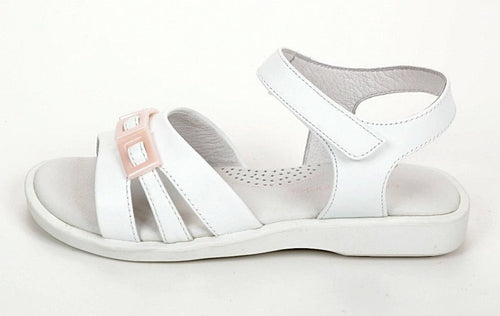 Jumping Jacks Time Square Girls White Leather Sandals