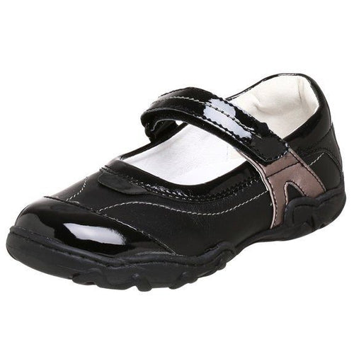 Primigi Phoebe Girls Black Silver Leather Mary Jane Shoes