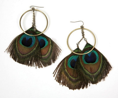 Feather Earrings with Gold Tone Circle Beautiful Design