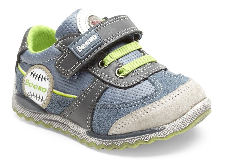 Beeko Julian Boys Blue Lime Leather Shoes SZ 4.5