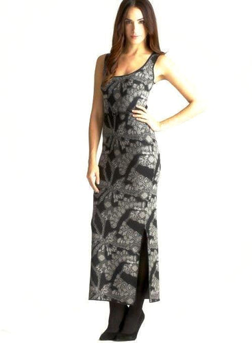 Carmen Marc Valvo Women's Gem Jacquard Belted Maxi Dress SZ Large