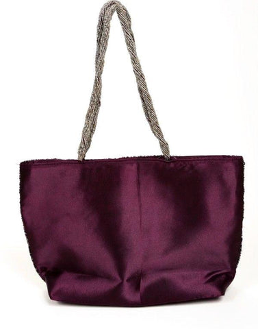 Shasha Beaded Purple Satin Large Tote