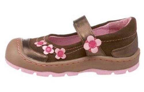 Jumping Jacks Mandy Girls Brown Leather w Pink Flowers Mary Jane Waterproof Shoes