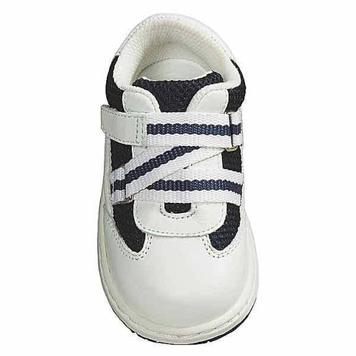 JUMPING JACKS Zig Zag Boys White Navy Leather Sneaker Shoes, 5.5 M
