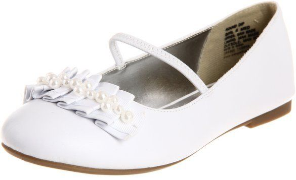 Kenneth Cole Round Dip Girls White Flats Shoes SZ 11.5 (Toddler)