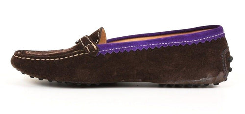 Tod's Womens Brown Purple Suede Leather Loafers Made in Italy SZ 7