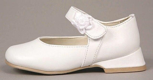 Rachel Juliet White Leather with Flower Mary Jane Dress Shoes Size 5 M (Infants)