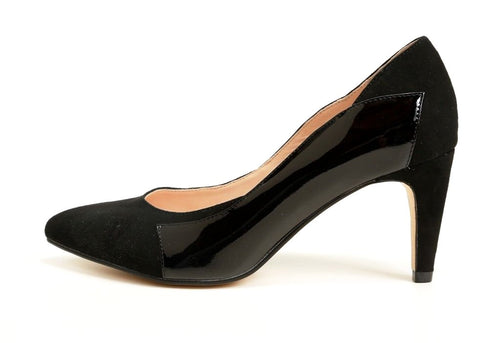 SACHA LONDON Art Women's Size 6 Black Kid Suede/Patent Leather Pump, $155, NEW