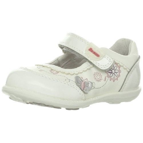 Beeko Goldy Girls White Leather Mary Jane Shoes