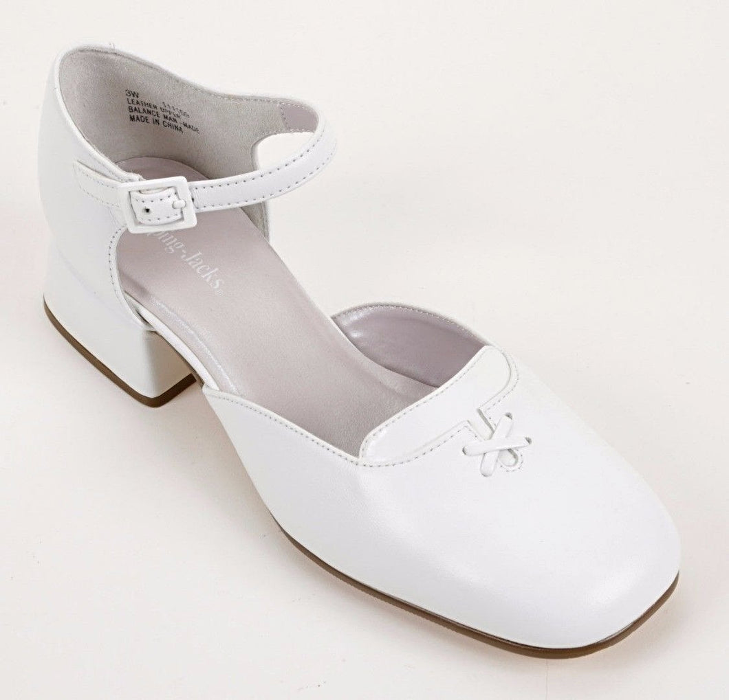 Munro (by Jumping Jacks) Liza Girls White Leather Dress Shoes