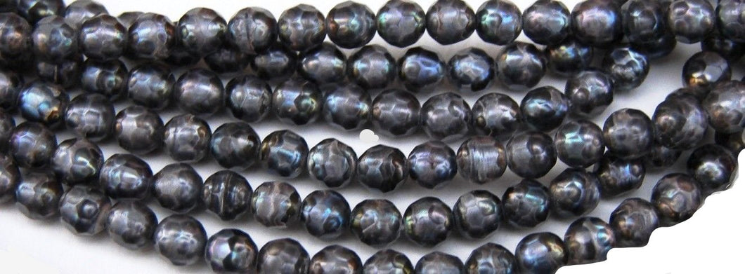 Bluish Gray Faceted Round 4 mm Pearls 16