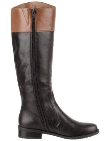 Me Too Delaney  Women's Black Carmel Leather Riding Boots SZ 6