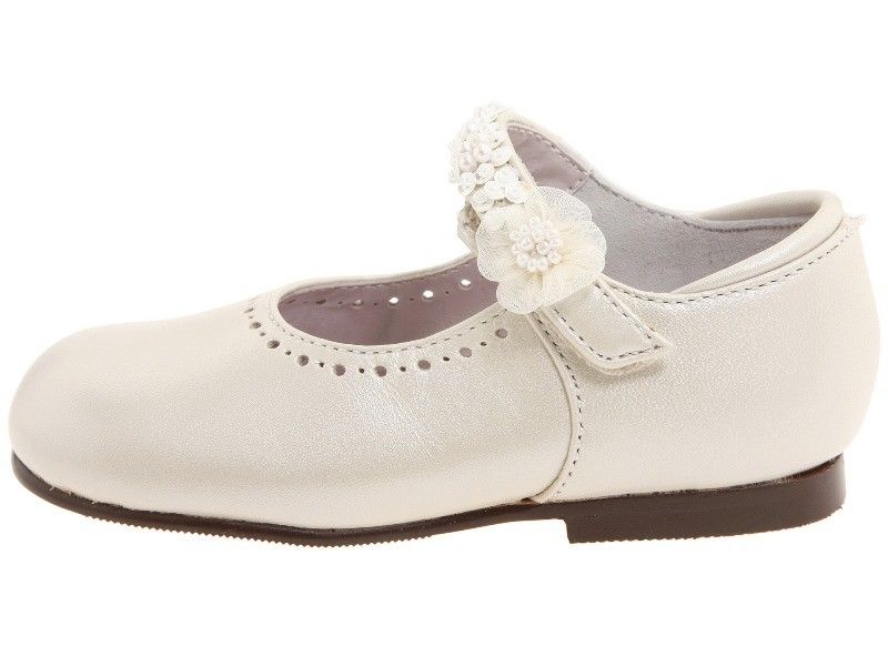 Jumping Jacks Annalise Girls Bone Leather Dress Shoes