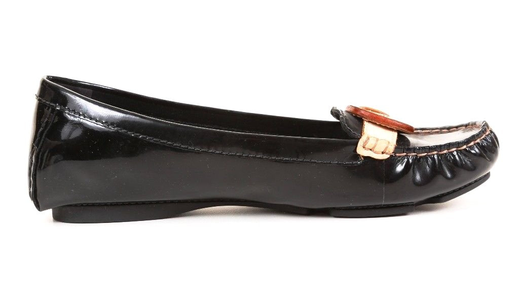 Caressa Zap Black Patent Leather Moccasins