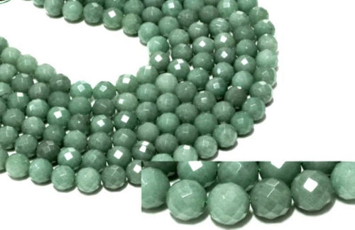 "Multi Faceted Round 10mm Green Aventurine Beadss - 16"" Strand"