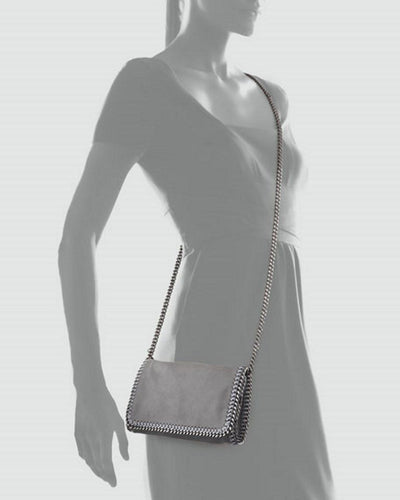 Stella McCartney Falabella Lt. Grey Shaggy Deer Faux Leather Crossbody Handbag