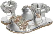 Kenneth Cole Mid-Bright Girls Silver Flower Sandals SZ 10 (Toddler)