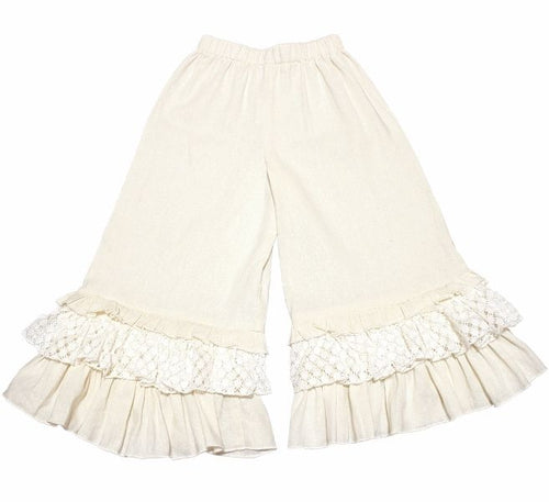 A. Bird Lacy Girls Cream Crochet Linen Pants