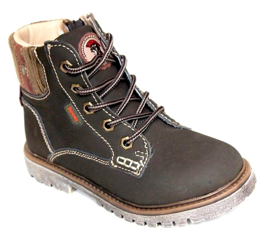 Beeko Giovani Boys Brown Leather Lace Boots SZ 1.5