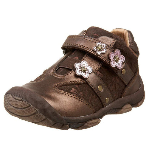 Beeko Marisa Girls Brown Leather w Pink Flowers Shoes SZ 6