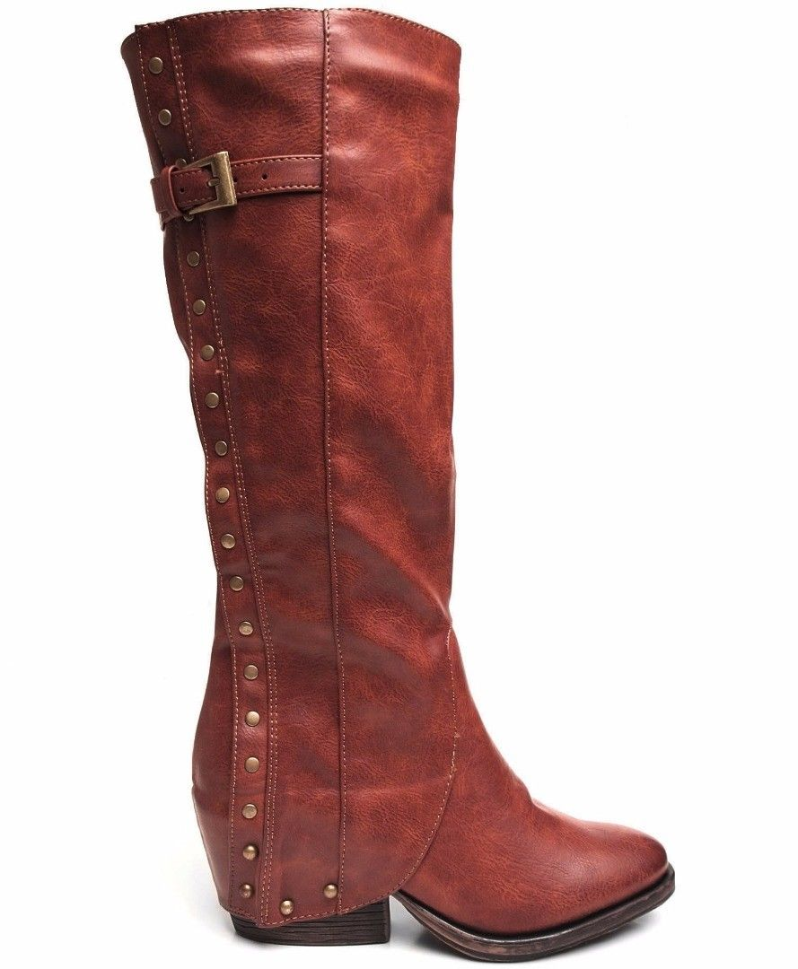 Two Lips Tantrum Women's Brick Mid Calf Motorcycle Boots
