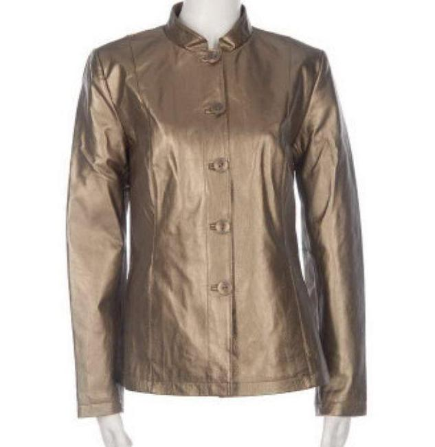 Dialogue Women's Pearlized Leather Jacket Size 3X