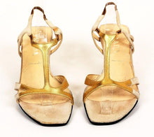Prada Women's Gold Metallic T-Strap Sandals Size 38.5 EU