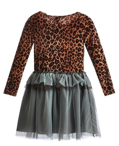 Haute Baby Girls Leopard  Velvet & Tutu Dress SZ 3