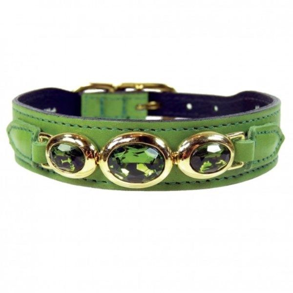 Hartman & Rose Regency Luxury Lime Green Leather Dog Collar with Crystals SZ 8