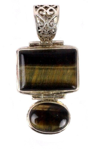 Tiger Eye & .925 Silver Large Square & Oval Pieces Pendant
