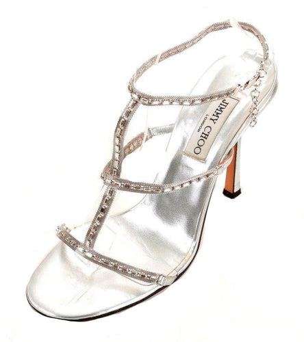 Jimmy Choo Metallic Silver Leather Swarovski Crystal Sandals SZ 10