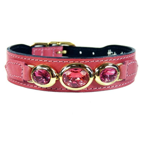Hartman & Rose Regency Luxury Pink Leather Dog Collar with Crystals SZ 12