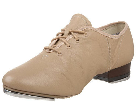 Leo's Unisex 5056 Leather Tan Split Jazz Tap Shoes (Big Kid)