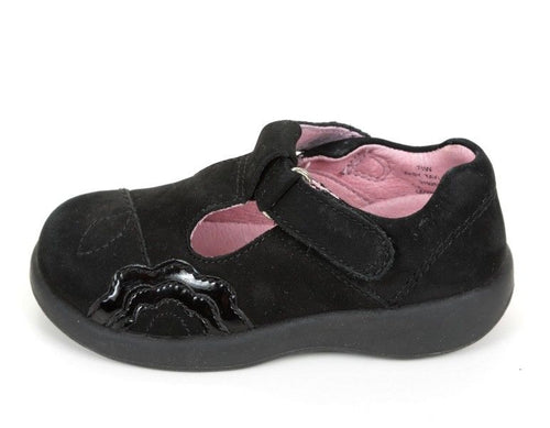 Stride Rite Taylor Girls Black Nubuck Leather Dress School Shoes
