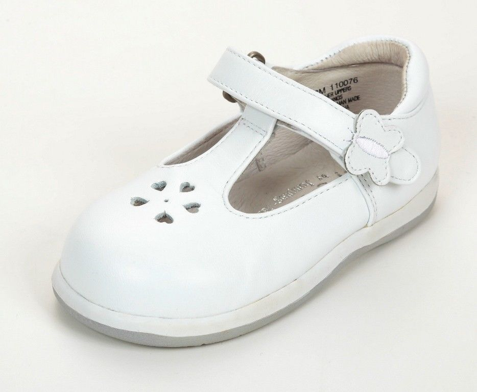 Jumping Jacks Flutter Girls White Leather Dress Shoes