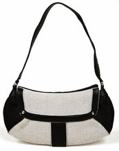 Cole Haan Black Pebble Leather & Grey Canvas Handbag