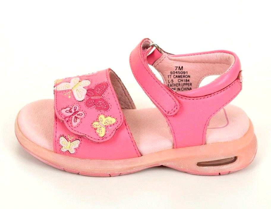 Stride Rite Cameron Girls Pink Sherbert Leather Sandals Size 11 (Toddler)