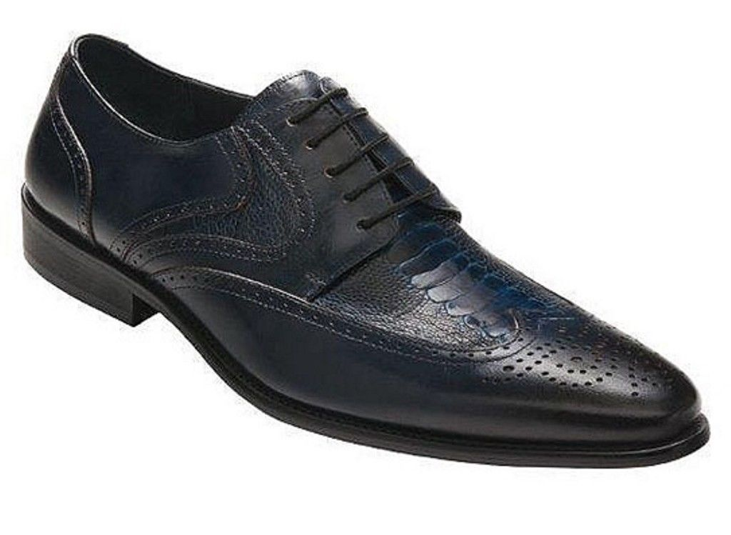 David X Lenny Men's Navy Genuine Ostrich & Leather Lace Up Shoes SZ 13