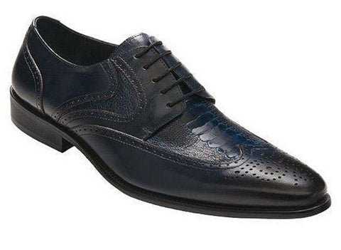 David X Lenny Men's Navy Genuine Ostrich & Leather Lace Up Shoes Size 13