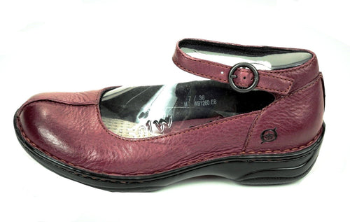 Born Women's Burgundy Pebble Leather Mary Jane Shoes