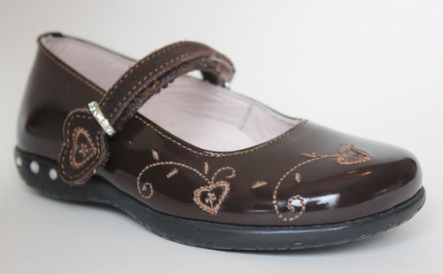 Minibel Calvados Girls Brown Leather Mary Jane Shoes SZ 9.5 (Toddler)