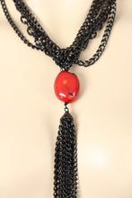 "Black Chain Long 23"" Necklace with Red Stone Pendant"