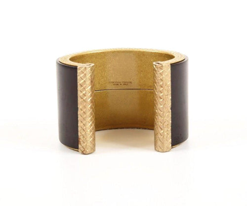 Bottega Veneta Black Gold Pink Toned Quilted Metal Cuff Bracelet