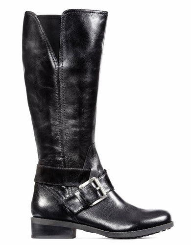 Me Too Darcey Women's Black Leather Buckle Riding Boots